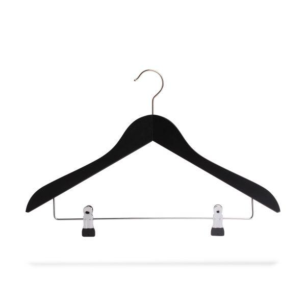 Kleiderbügel schwarz mit Klammersteg, gewinkelt