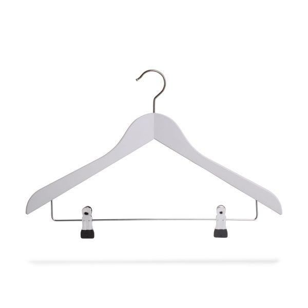 Kleiderbügel weiß aus Holz mit Klammersteg, gewinkelt