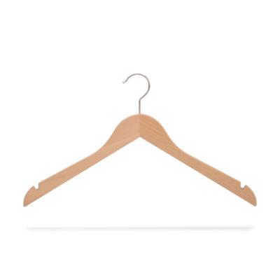 Kleiderbügel aus Holz mit Rockeinschnitten, gewinkelt
