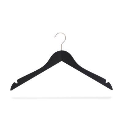 Kleiderbügel schwarz aus Holz mit Rockeinschnitten, gewinkelt