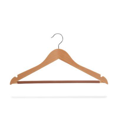 Kleiderbügel aus Holz mit Steg und Rockeinschnitten, gewinkelt
