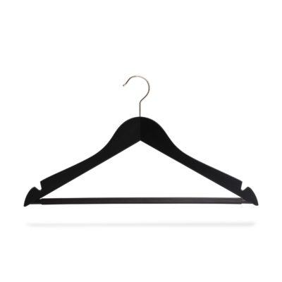Kleiderbügel schwarz mit Steg und Rockeinschnitten, gewinkelt