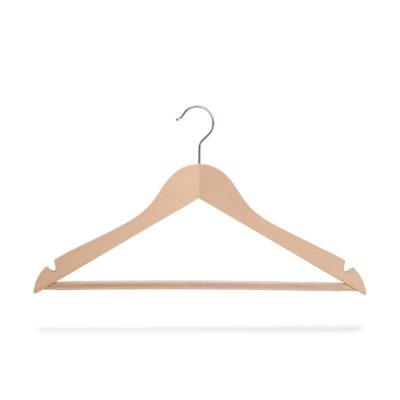 Kleiderbügel holz mit Steg und Rockeinschnitten, gewinkelt