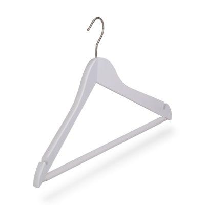 Kleiderbügel weiß mit Steg und Rockeinschnitten, gewinkelt
