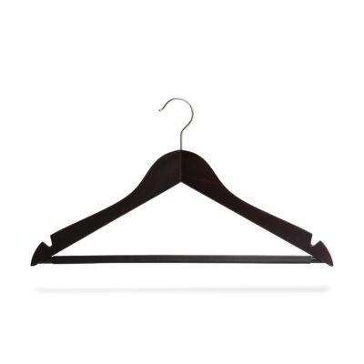 Kleiderbügel wenge mit Steg und Rockeinschnitten, gewinkelt
