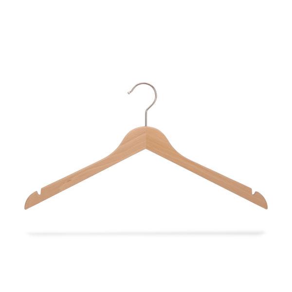 Kleiderbügel aus Holz mit Rockeinschnitten, flach