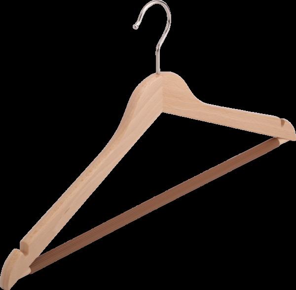 Kleiderbügel aus Holz mit Steg und Rocheinschnitten, flach