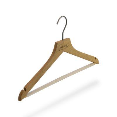 Kleiderbügel Flach aus Eiche mir Steg und Rockeinschnitten
