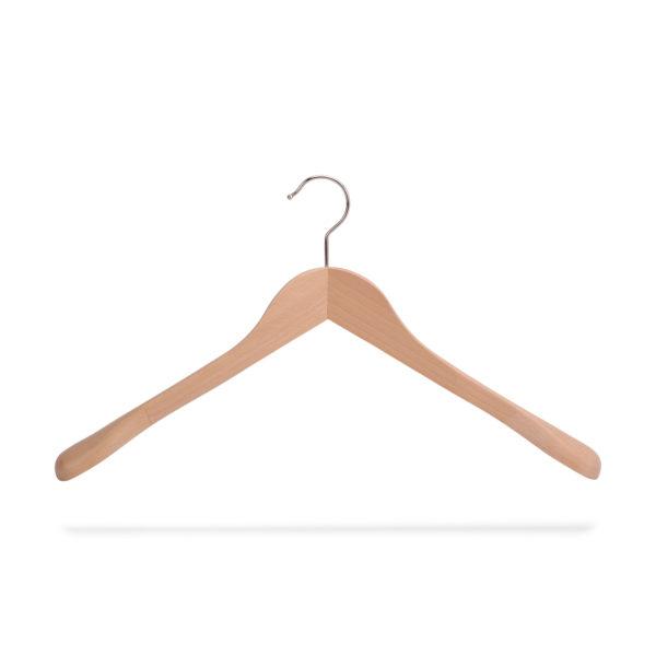 Holzkleiderbügel mit Schulterverbreiterung, gewinkelt