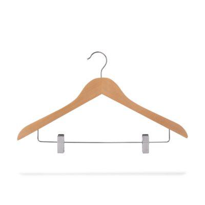 Kleiderbügel aus Holz mit Klammersteg, gewinkelt