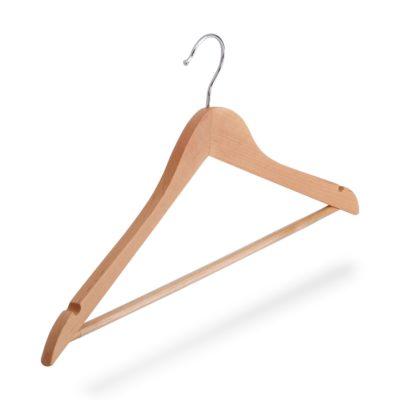 Kleiderbügel aus Holz mit Steg rutschfest und Rockeinschnitte, gewinkelt