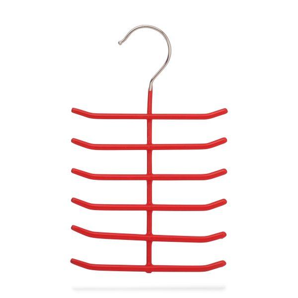 Kleiderbügel für 12 Krawatten aus Metall, rot